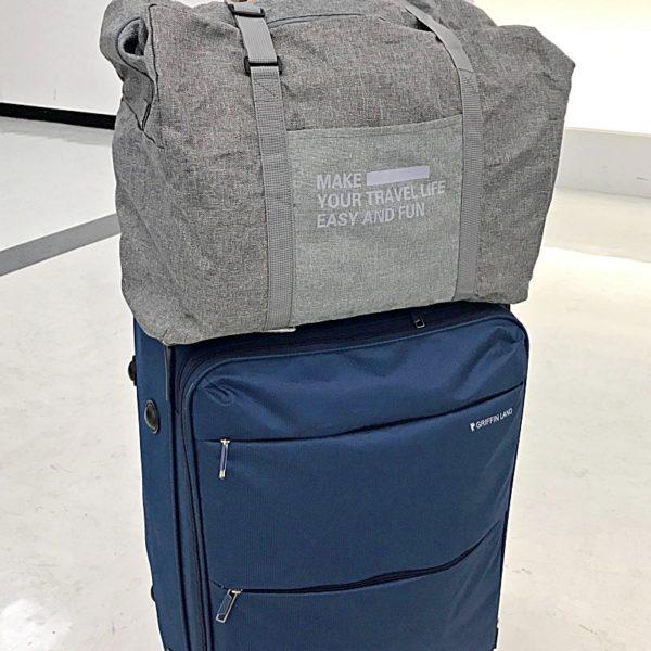 スーツケースの持ち手に通す折りたたみ旅行用ボストンバッグ(キャリーオンバッグ)